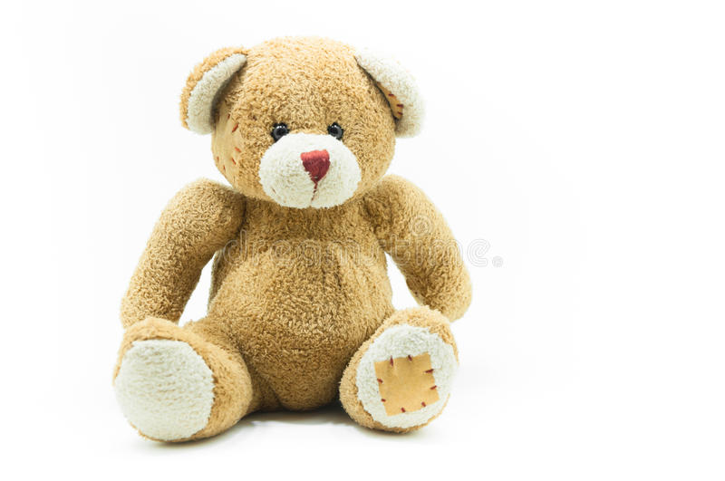 Brown Teddy Bear toy sitting on White. Background stock photography