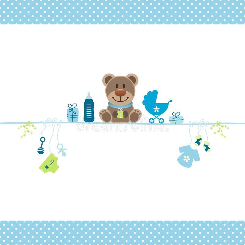 Brown Teddy And Boy Baby Icons Dots Border Blue ilustração royalty free