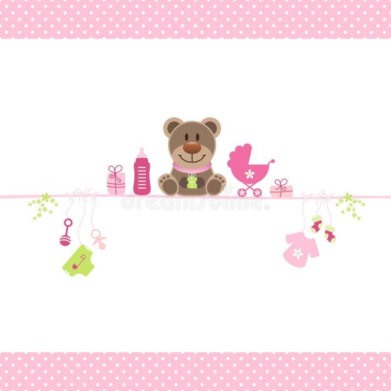 Brown Teddy And Girl Baby Icons Dots Border Pink stock de ilustración