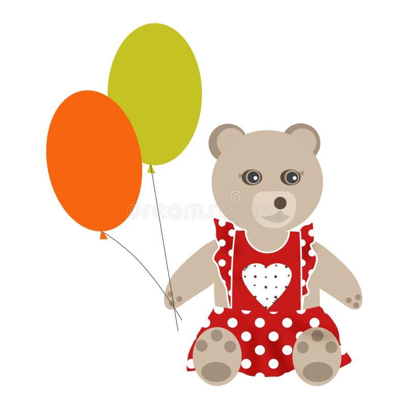 Brown-Teddybärmädchen mit Ballonen auf isolater Hintergrund lizenzfreie abbildung