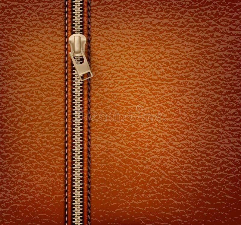 Brown tekstury rzemienny tło z suwaczkiem royalty ilustracja