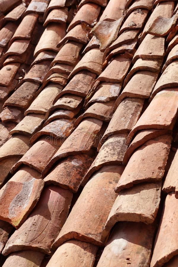 Brown  texture ceramic roof tile stock photography