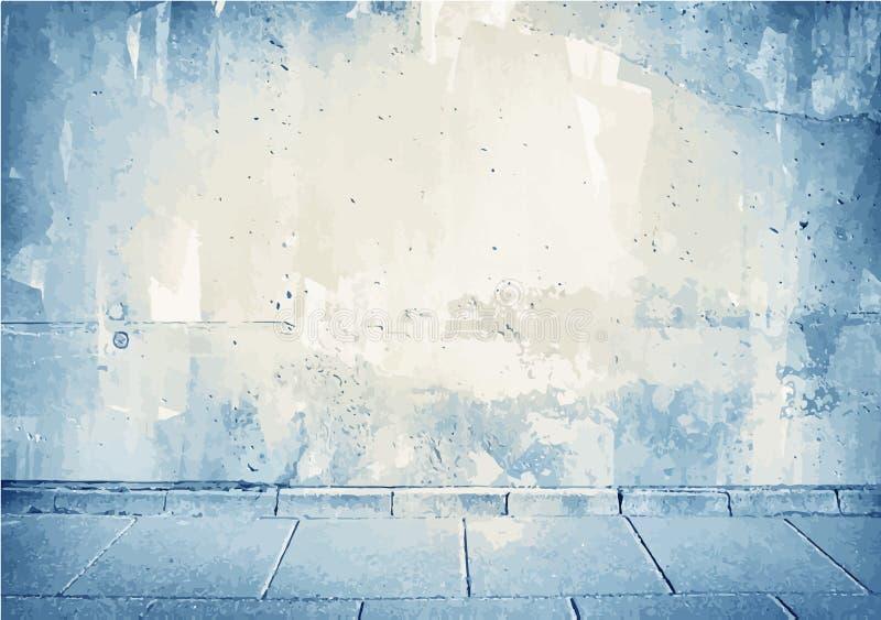 Brown, texture grunge bleue de mur en béton avec illustration libre de droits