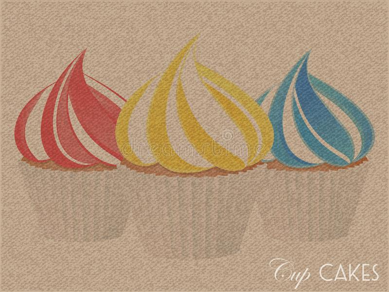 Brown textured canvas with cup cakes stock illustration