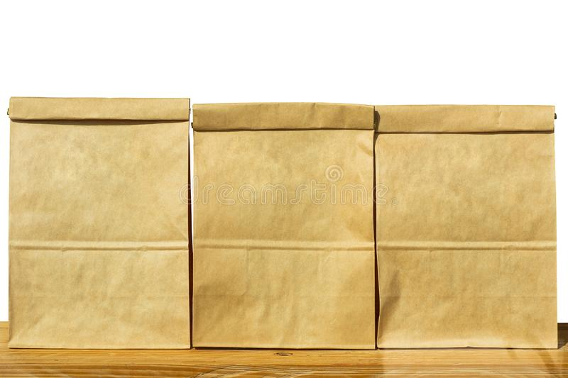 Brown textured paper bag set isolated white background stock images