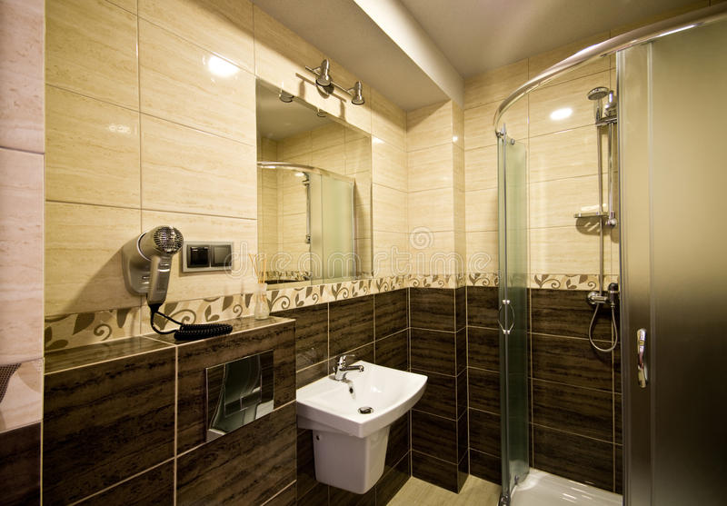 Brown theme bathroom stock images