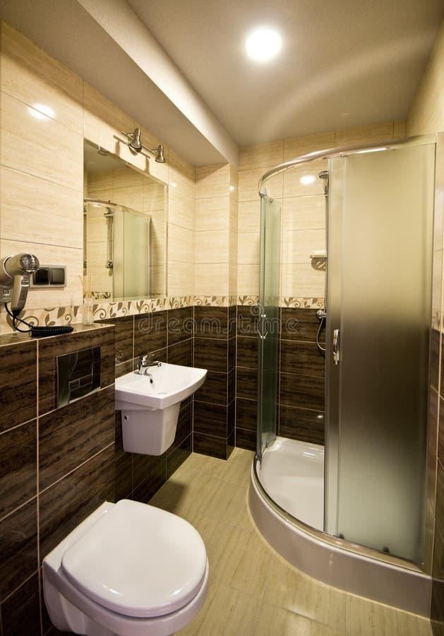 Brown theme bathroom stock photography