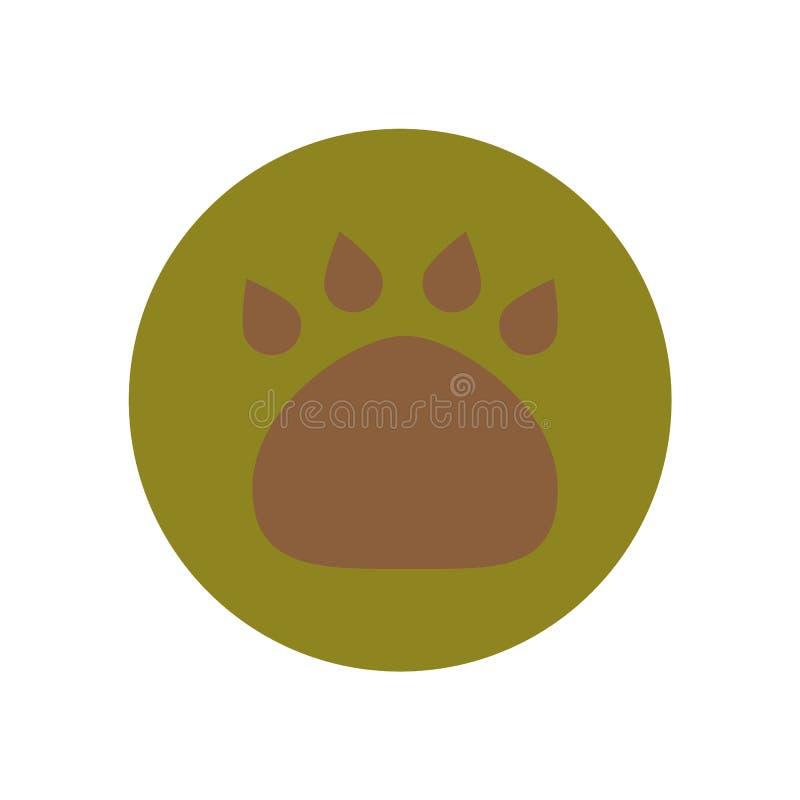 Brown-Tierpfotenabdruck lokalisiert auf grünem Kreis Wandern der Sammlung lizenzfreie abbildung