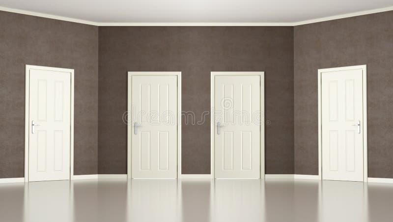 Brown tom lokal med fyra dörrar vektor illustrationer