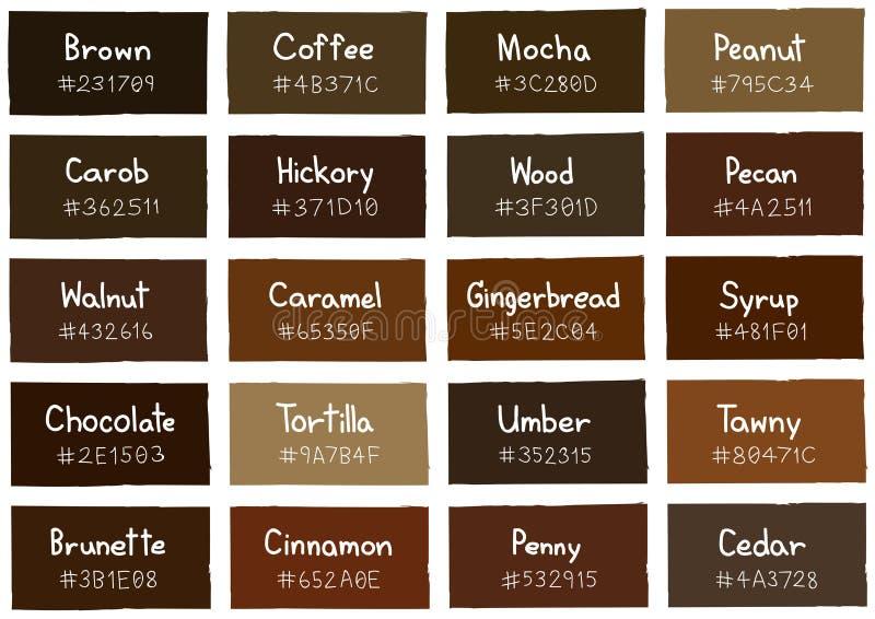 Brown Tone Color Shade Background avec le code et le nom illustration de vecteur