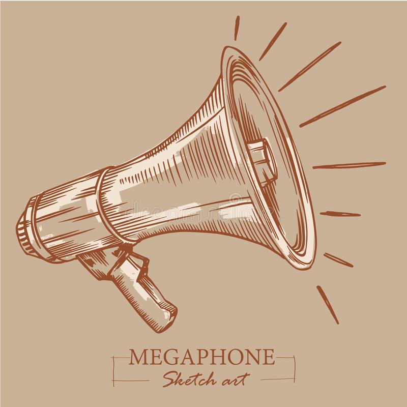 Brown toned modern stylized sketch of megaphone. Loudspeaker for announcements, bullhorn sketch news or public attention.  vector illustration