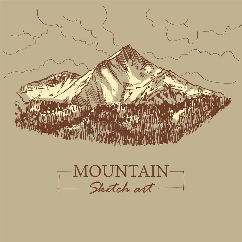 Brown toned modern stylized sketch of mountain, with forest and clouds, vector illustration.  vector illustration