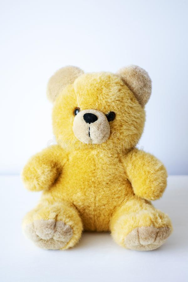 Brown toy soft bear on white background childhood concept.  royalty free stock photo