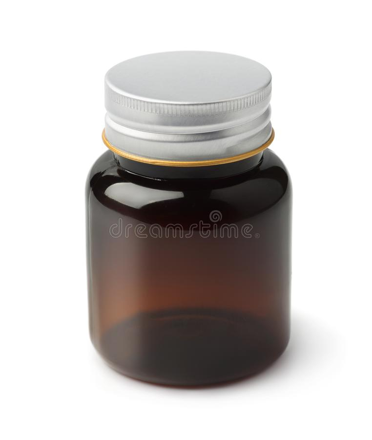 Brown plastic medical bottle royalty free stock images