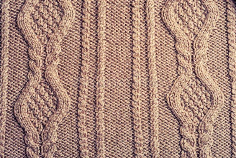 Brown a tricoté de laine image libre de droits