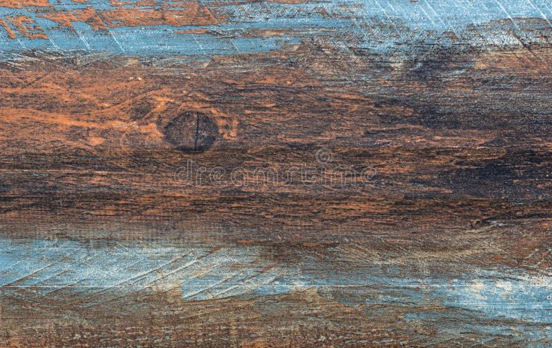 Brown, turquoise, and teal wood board - Vintage wood background - Old horizontal board surface.  royalty free stock photography
