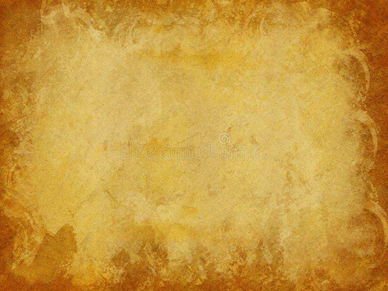 Brown und Gold beunruhigter Papierbeschaffenheits-Hintergrund mit dunklen Rändern stockfotografie