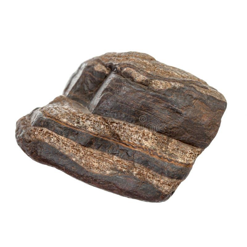 Brown und schwarzer Stein auf Weiß stockbild