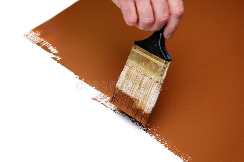 brown våt borstemålarfärg royaltyfri fotografi