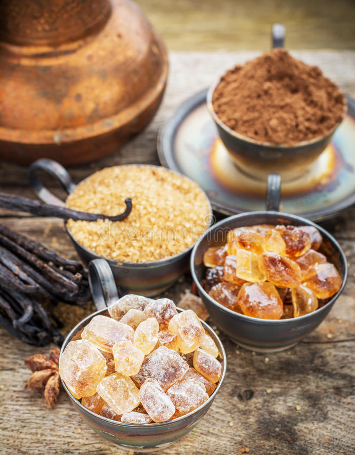 Brown and vanilla sugar on a stock photos