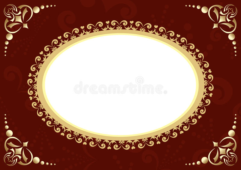 Brown vector card with oval and patter