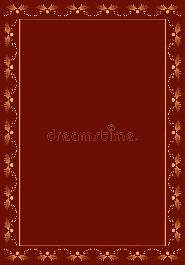 Brown Vector Frame With Beige Decor Royalty Free Stock Photo