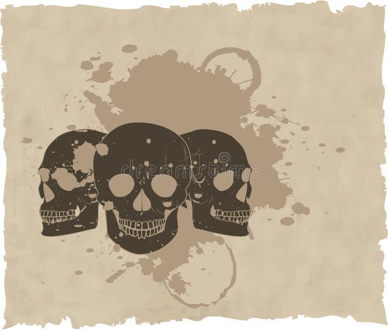 The brown vector grunge skull on old paper vector illustration