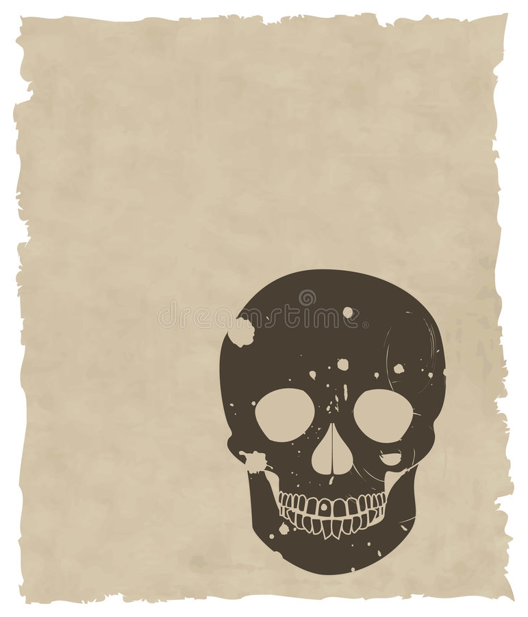The brown vector grunge skull on old paper royalty free illustration