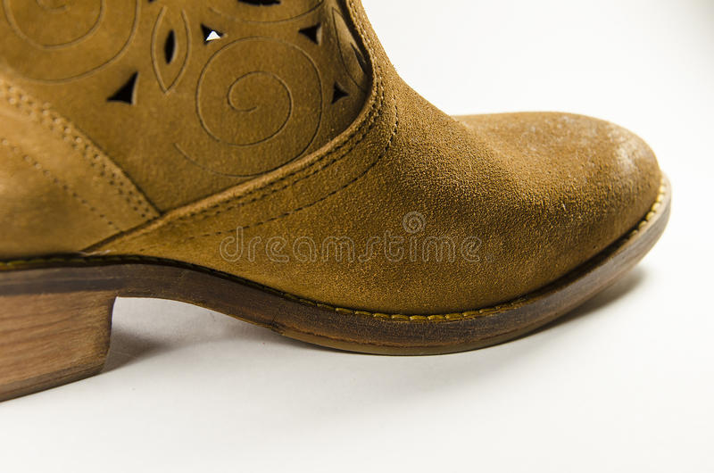 Brown-Velourslederschuh lizenzfreies stockbild
