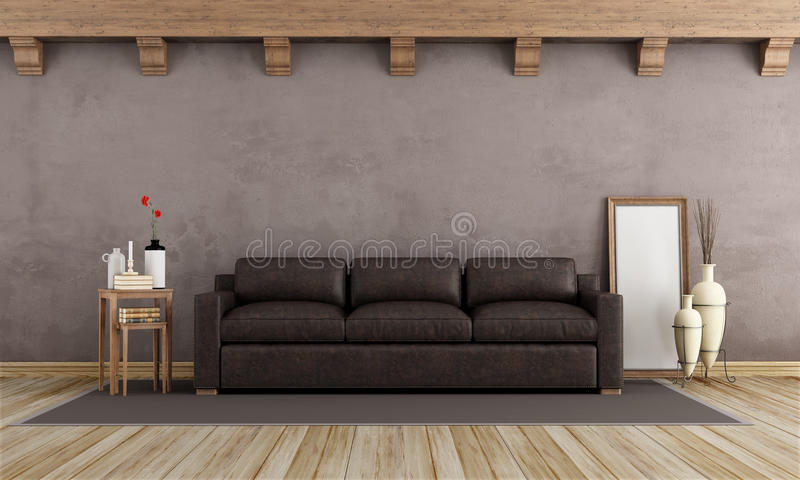 Brown vintage interior royalty free illustration