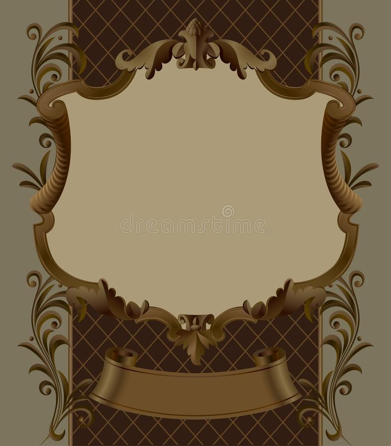 Brown vintage ornamental frame and banner with retro decorative royalty free illustration
