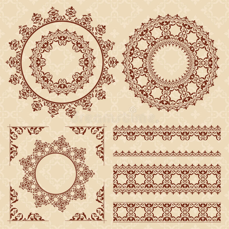 Brown vintage ornaments and frames - vector vector illustration
