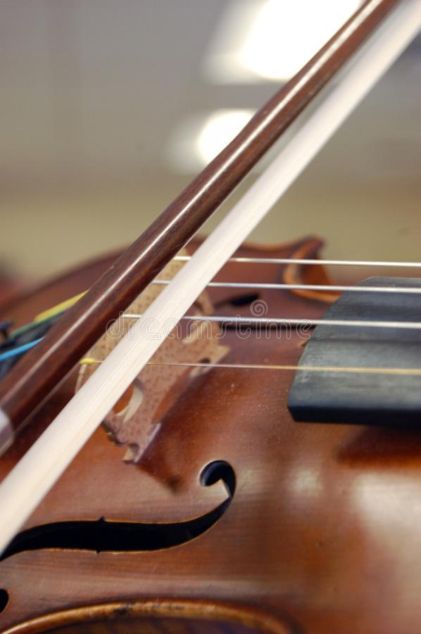 Brown Violin Close-up of Bow stock image