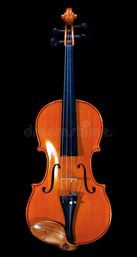 Brown violin from front stock photo
