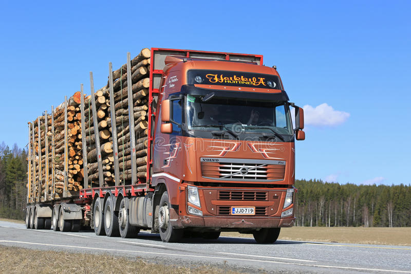 Brown Volvo FH Hauls Timber on Beautiful Day stock images
