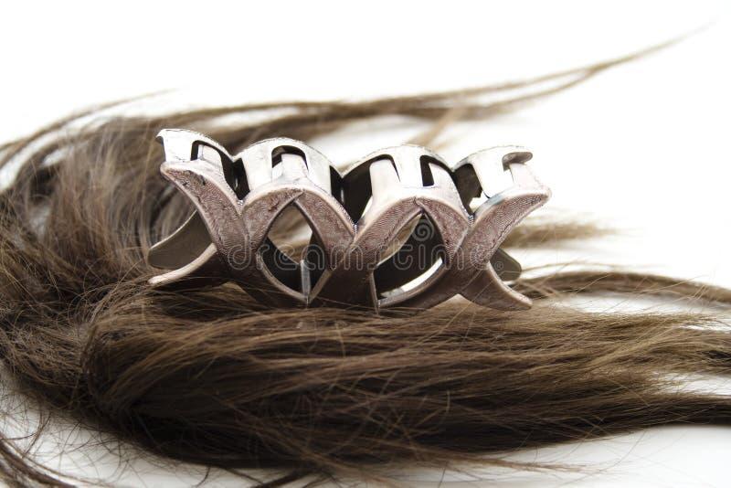 Brown włosy z włosianą klamerką obrazy stock
