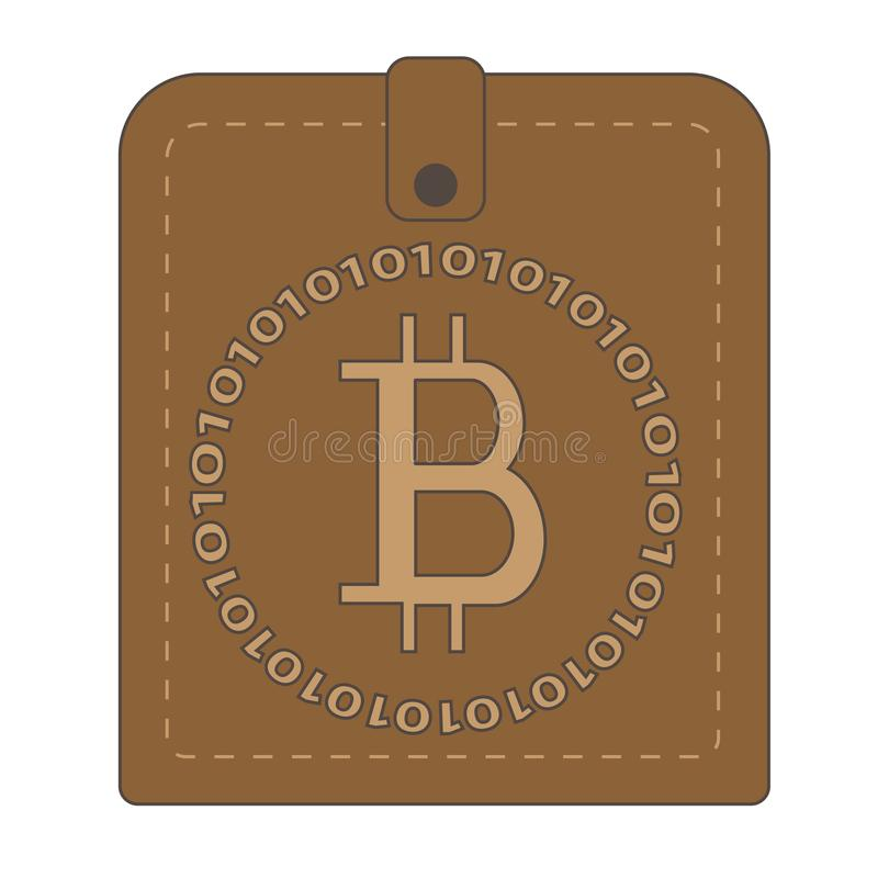 Brown wallet with bitcoin symbol stock images