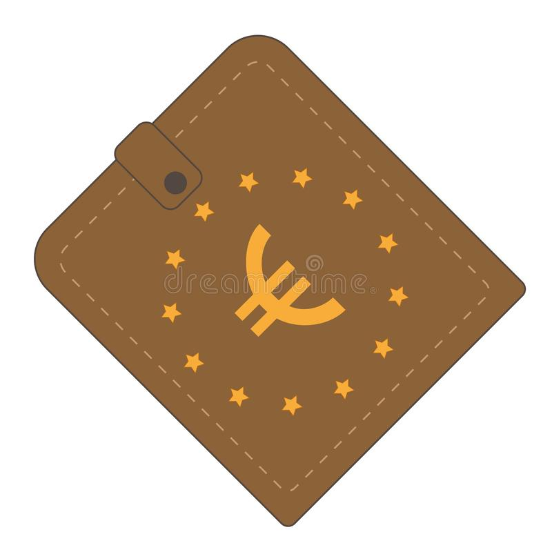 Brown wallet with Europe Unian symbol royalty free stock photo