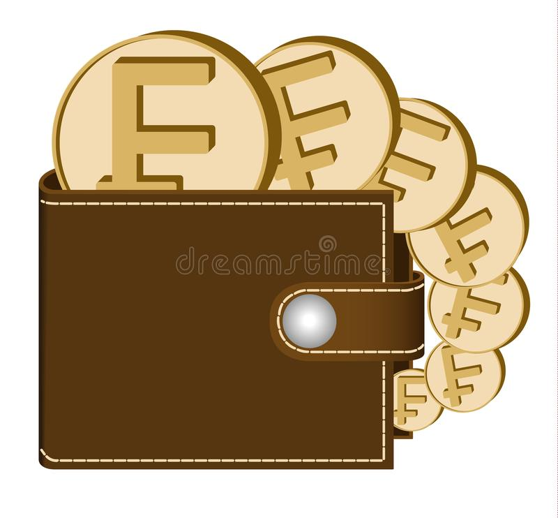 Brown Wallet With Franc Coins Stock Vector Illustration Of Swiss