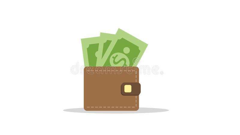 Brown wallet with green paper money. Wallet royalty free illustration