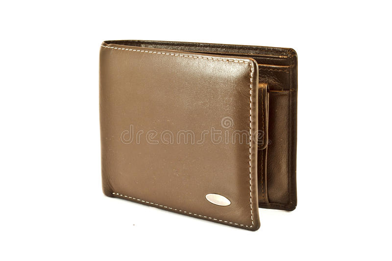 Brown wallet. On a white background stock photos