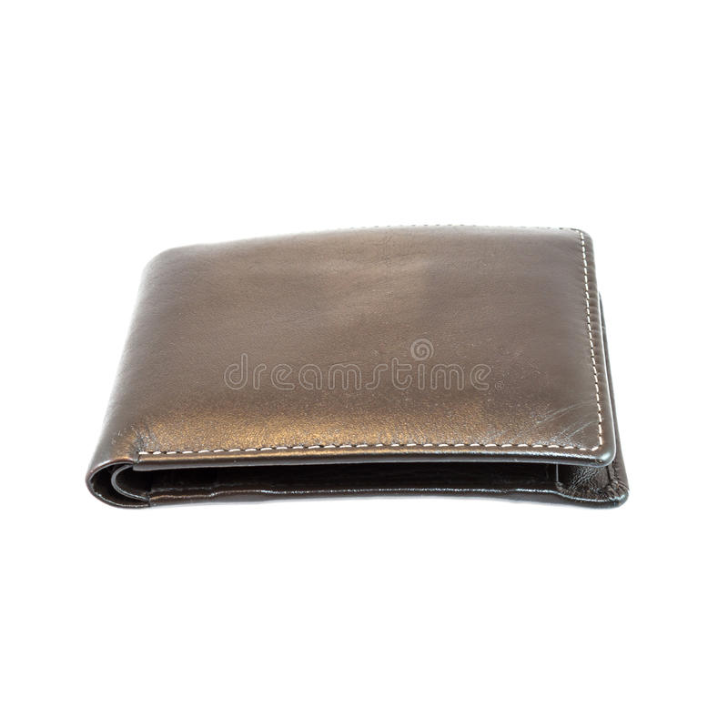 Brown wallet. On a white background stock images