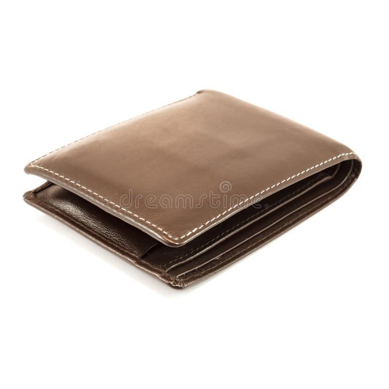 Brown wallet. On a white background royalty free stock photo