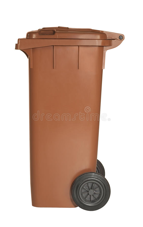 Brown waste container. Studio photography of a waste container in white back stock photos