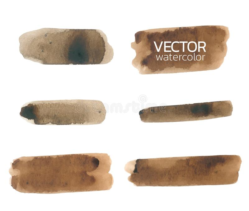 Brown watercolor brush strokes. Set of Vector brush. Brown watercolor brush strokes. Vector brush stroke for design, Abstract watercolor background royalty free illustration