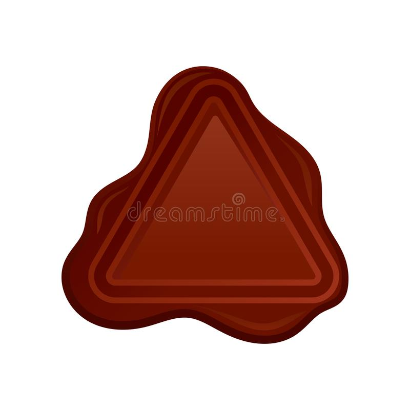 Brown wax seal stamp in form of triangle. Old-fashioned postal symbol. Vector element for document or invitation vector illustration