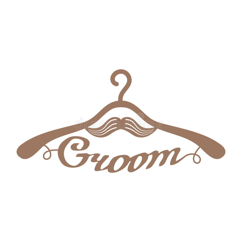Brown wedding hangers for groom royalty free illustration