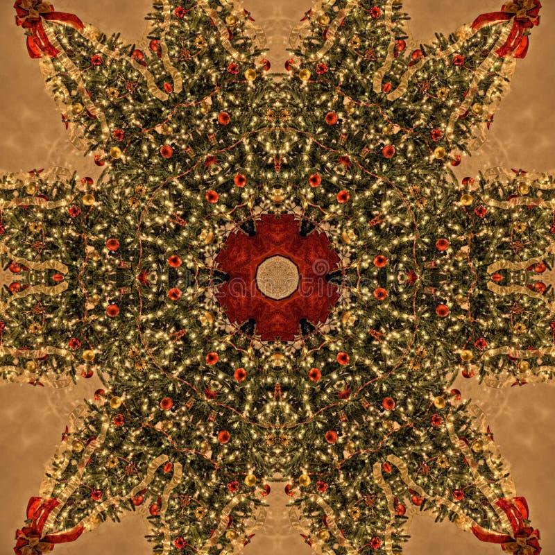 Brown-Weihnachtsbaum-Zusammenfassungs-Mandala Kaleidoscope-Beschaffenheit lizenzfreie stockfotografie