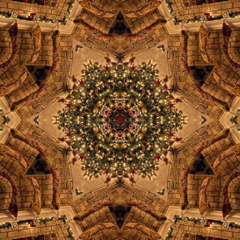 Brown-Weihnachtszusammenfassungs-Mandala Kaleidoscope-Beschaffenheit lizenzfreie stockbilder