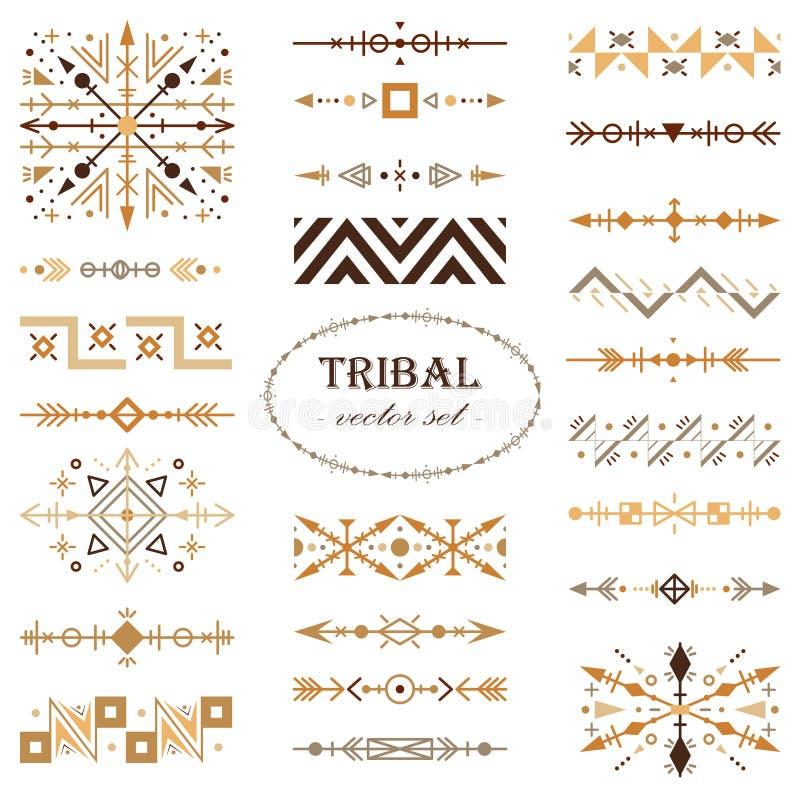 Brown wektorowy plemienny set projektów elementy Muśnięcie set royalty ilustracja